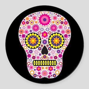Pink sugar skull car magnets cafepress pink mexican flower skull round car magnet mightylinksfo