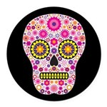 Pink Mexican Flower Skull Round Car Magnet