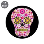 """Pink Mexican Flower Skull 3.5"""" Button (10 pac"""