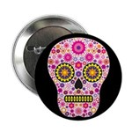 """Pink Mexican Flower Skull 2.25"""" Button (10 pa"""