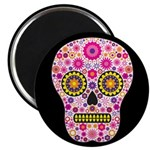 Pink Mexican Flower Skull Magnet