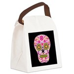 Pink Mexican Flower Skull Canvas Lunch Bag