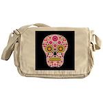 Pink Mexican Flower Skull Messenger Bag