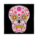 Pink Mexican Flower Skull Queen Duvet