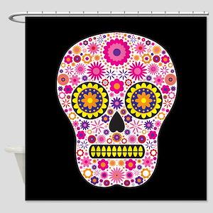 Pink skull shower curtains cafepress pink mexican flower skull shower curtain mightylinksfo