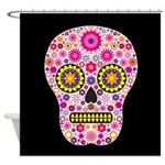 Pink Mexican Flower Skull Shower Curtain