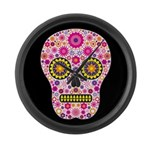 Pink Mexican Flower Skull Large Wall Clock