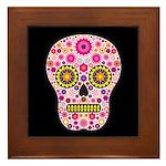 Pink Mexican Flower Skull Framed Tile
