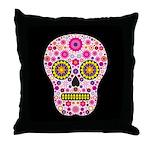Pink Mexican Flower Skull Throw Pillow