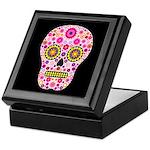 Pink Mexican Flower Skull Keepsake Box