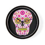 Pink Mexican Flower Skull Wall Clock