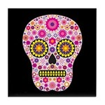 Pink Mexican Flower Skull Tile Coaster