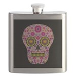 Pink Mexican Flower Skull Flask