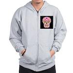 Pink Mexican Flower Skull Zip Hoodie