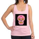 Pink Mexican Flower Skull Racerback Tank Top