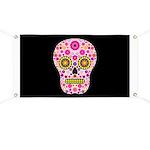Pink Mexican Flower Skull Banner
