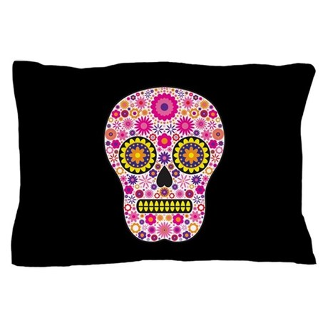 Pink mexican flower skull pillow case by hippygiftshop mightylinksfo