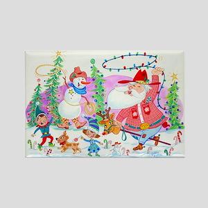 Cowboy Santa and Snowman Rectangle Magnet