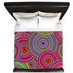 Pink and Green Retro Pattern King Duvet