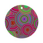 Pink and Green Retro Pattern Ornament (Round)