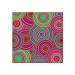 Pink and Green Retro Pattern Square Sticker 3