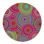 Pink and Green Retro Pattern Round Car Magnet