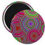 Pink and Green Retro Pattern Magnet