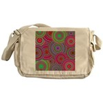 Pink and Green Retro Pattern Messenger Bag