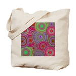 Pink and Green Retro Pattern Tote Bag