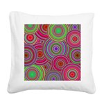 Pink and Green Retro Pattern Square Canvas Pillow