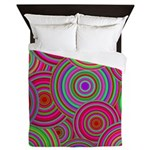 Pink and Green Retro Pattern Queen Duvet
