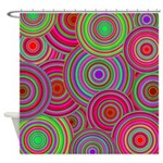 Pink and Green Retro Pattern Shower Curtain