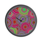 Pink and Green Retro Pattern Wall Clock