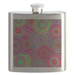 Pink and Green Retro Pattern Flask