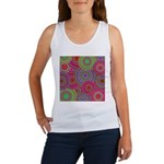 Pink and Green Retro Pattern Women's Tank Top