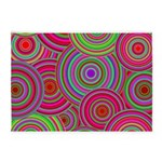 Pink and Green Retro Pattern 5'x7'Area Rug