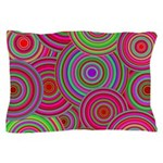 Pink and Green Retro Pattern Pillow Case