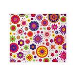 Hippie Rainbow Flower Pattern Throw Blanket