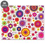 Hippie Rainbow Flower Pattern Puzzle