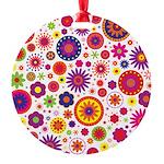 Hippie Rainbow Flower Pattern Round Ornament