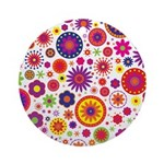 Hippie Rainbow Flower Pattern Ornament (Round)