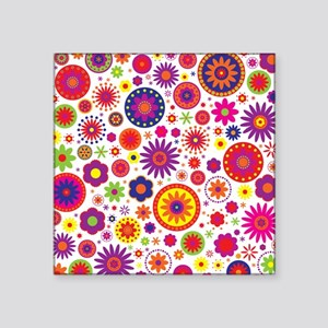 "Hippie Rainbow Flower Pattern Square Sticker 3"" x"