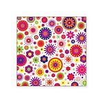 Hippie Rainbow Flower Pattern Square Sticker 3