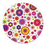 Hippie Rainbow Flower Pattern Round Car Magnet