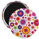 Hippie Rainbow Flower Pattern Magnet