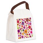 Hippie Rainbow Flower Pattern Canvas Lunch Bag