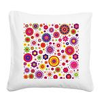Hippie Rainbow Flower Pattern Square Canvas Pillow
