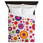 Hippie Rainbow Flower Pattern Queen Duvet