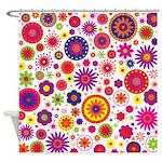 Hippie Rainbow Flower Pattern Shower Curtain