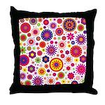 Hippie Rainbow Flower Pattern Throw Pillow